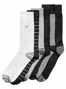 PERRY ELLIS 6 Pack Black Blue Portfolio Dress Crew Socks