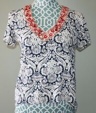 Buttons Short Sleeve V Neck Shirt Hi Low Hem Womens Size S