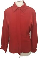 Vtg Pendleton Country Sophisticated Sz 12 Soft Blouse Top Red Classy Holiday Usa