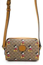 Disney x Gucci Monogram Mickey Canvas Crossbody Shoulder Handbag Beige Brown