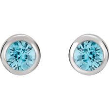 Genuine Blue Zircon 4 mm Round Gemstones Studs in 14K Solid White Gold Earrings