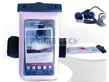 iPhone / Smartphone Tasche wasserdicht mit Ohrhörern Pink V2