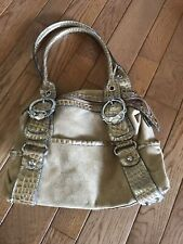Kathy Van Zeeland bronze slouched purse with front pockets zip top closure