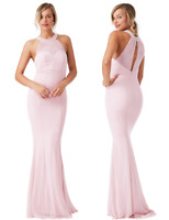 Goddiva Pink Chiffon Embellished Pearl Maxi Evening Party Dress Prom Bridesmaid