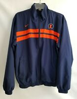 Nike Team Mens Jacket Zip Front Navy Blue Orange Pockets Lined Clima Fit Size S