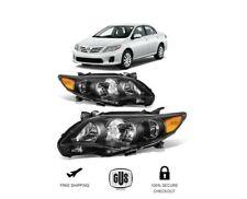 For Toyota Corolla 2011 2012 2013 Headlights Set Black Lamps Light Left+Right