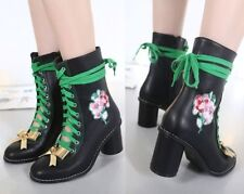Block Heel Lace Up Floral Boots for Women