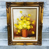 Nell Blain Floral Oil Painting-SIGNED- 1960S Vintage Mid-Century Modern MCM