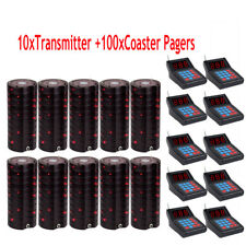 New Restaurant Wireless Paging Queuing System:10XTransmitter+100XCoaster Pagers