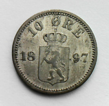 1897 NORWAY SILVER Coin 10 ORE