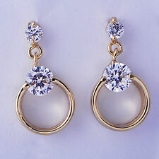 Gorgeous Womens Clear Dangle Earrings Yellow Gold Filled Free shipping