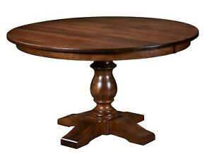 """Amish Round Single Pedestal Dining Table Solid Wood Ornate Base Alex 42"""" 48"""",54"""""""