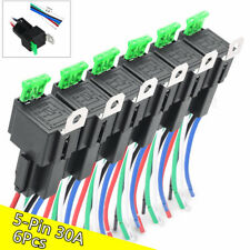 6Pcs 12V Automotive 5-Pin 30A Fuse Relays Harness Kit with 14AWG Hot Wires SPDT