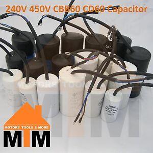 250V 450V CBB60 CD60 Capacitor 50/60Hz Start Run Wire Lead Motor ALL SIZES