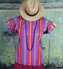 Purple Peach & Red Huipil / Blouse, Mayan Pantelho Chiapas Mexico Hippie Cowgirl