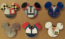 Wdw~Mint 2013 Hidden Mickey Epcot Cast Suit Icons 6 Pins Set w/Test Track Chaser