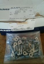 (100) AMP 323817 TERMINAL RING 16-14 AWG 6 Stud BLUE PIDG repackaged from bulk