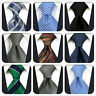 S&W SHLAX&WING Mens Tie Extra Long Necktie Silk Paisley Solid Blue Stripes