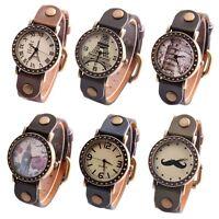 Women Retro Casual Watches Leather Band Alloy Case Analog Quartz Wrist Watch