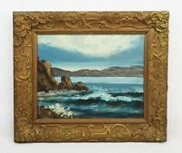 Antique Oil Painting of Maine Coast Rocks Waves Ocean Seascape Signed