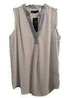 Size 8 M&S Collection sleeveless blouse top white/blue RRP £17. 50