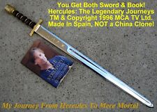 "HERCULES ""The Legendary Journeys"" Rare 1996 Sword Made in Spain & Book"