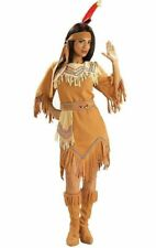 Native American Indian Prairie Maiden Costume Adult Women Beads Tan Medium 8-12