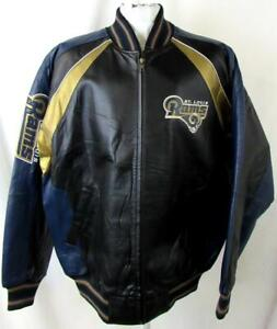 St Louis Rams Mens Large Embroidered Full Zip All Leather Jacket B1 507