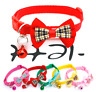 Plaid Bow Adjustable Kitten Necktie Collar Bowknot Bell Tie Cat Small Pet Puppy