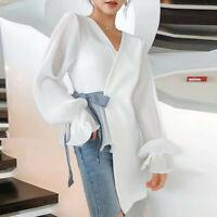 Women Elegant Formal V-neck Bow Irregular Long Sleeve Tops Casual Blouse T-shirt