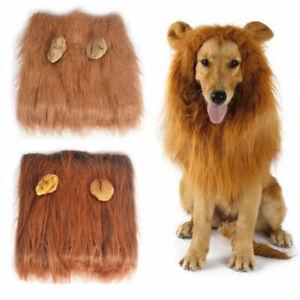 Large Pet Dog Costume Lion Mane Wig Hair For Halloween Clothes Fancy Dress Up
