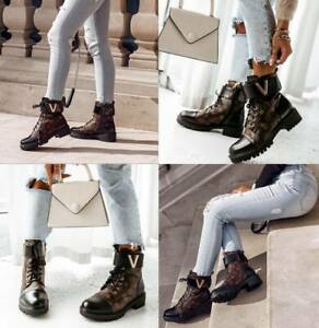 Womens Ankle Boots Shoes Ladies Biker Zip Lace Up Army Combat Winter Casual Size
