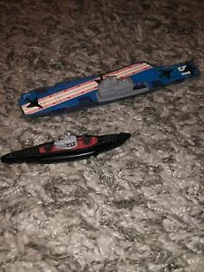 Vintage Tootsietoy Toy Submarine #47 Die-Cast Made In USA & Aircraft Carrier