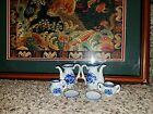 VINTAGE BLUE WHITE floral PORCELAIN CHILD'S MINI TEA SET SERVICE j89