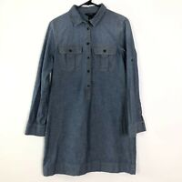 J.Crew Small Women's Button Front Long Sleeve Tunic Shirt Top Blue