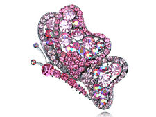 Adorable Fuchsia Rose Crystal Rhinestone Flutter Butterfly Insect Bug Pin Brooch