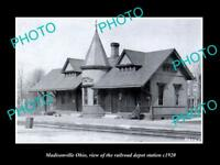 OLD LARGE HISTORIC PHOTO OF MADISONVILLE OHIO, THE RAILROAD DEPOT STATION c1920