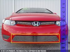 GTG, FITS: 2006 - 2008 HONDA CIVIC COUPE 2DR 1pc CHROME BUMPER BILLET GRILLE 07