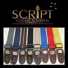 """100% Leather Ends SCRIPT """"HEAVY DUTY"""" Electric, Acoustic, Bass  Guitar strap"""