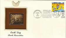 (18992) USA FDC Earth Day - with 22Ct Gold replica stamp Washington DC 1995