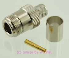 N Female  Teflon/Gold Crimp Connector fits LMR400 9913 Coax Cables - by W5SWL ®
