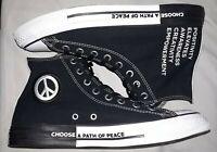 "Converse All Star Chuck Taylor High Top ""Seek Peace"" Black/White/Black Shoes..."