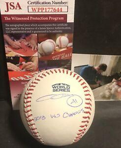 Chris Sale Red Sox Signed 2018 World Series CHAMPS Baseball JSA WITNESS COA 1