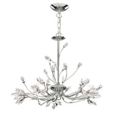 Hibiscus 5 Light Chrome Finish Crystal Chandelier With Flower Bud Glass Shade