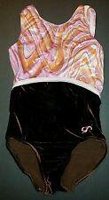 GK Elite Leotard L Large velour foil swirl dance gymnastics