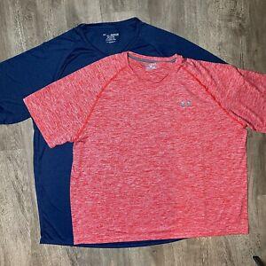 UNDER ARMOUR Heatgear Loose Fit Short Sleeve Athletic Tech Tee 2 Shirts Mens 4XL