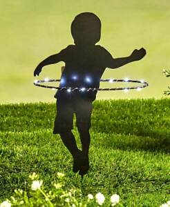 Solar Lighted Little Boy Hula-Hooping Shadow Silhouette Garden Stake