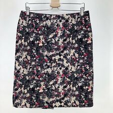 Talbots Womens 12 Floral Pencil Skirt Black Gray Pink Career Office