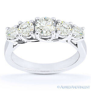 Round Cut Moissanite Anniversary 5-Stone Trellis Wedding Band in 14k White Gold
