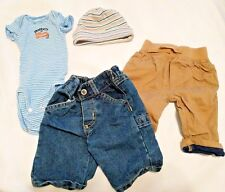 Lot of BABY NEWBORN CLOTHES Outfits Pants One Piece Beanie Hat Jeans Carters Kid